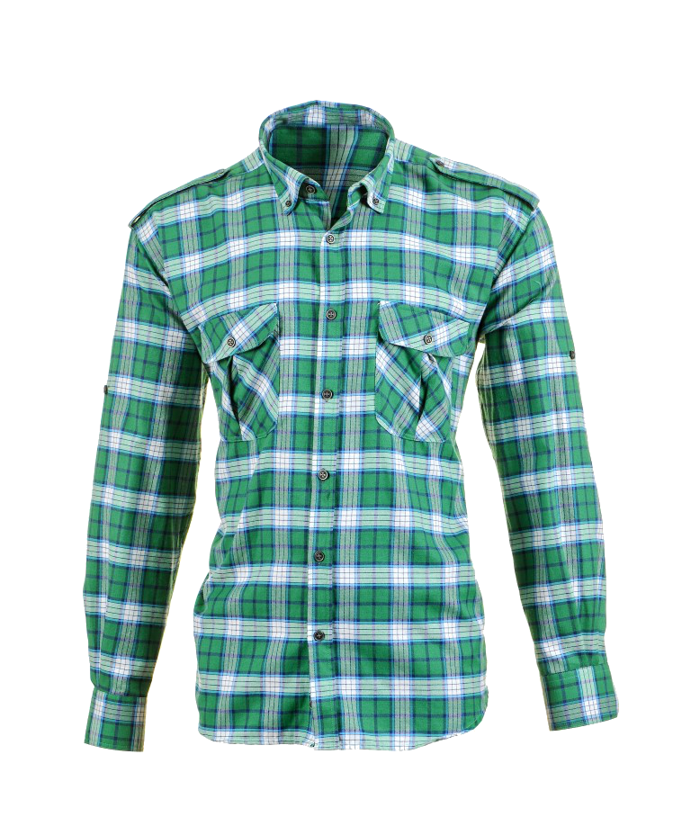 Plaid Shirts with Polar Fleece Laminated, Green