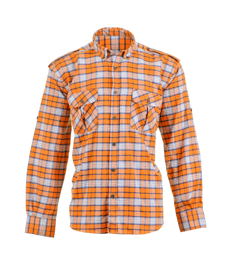 Plaid Shirts with Polar Fleece Laminated, Orange