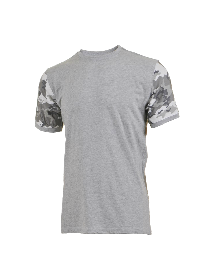 White Grey Camo Arms Grey T-Srhits Crew-Neck