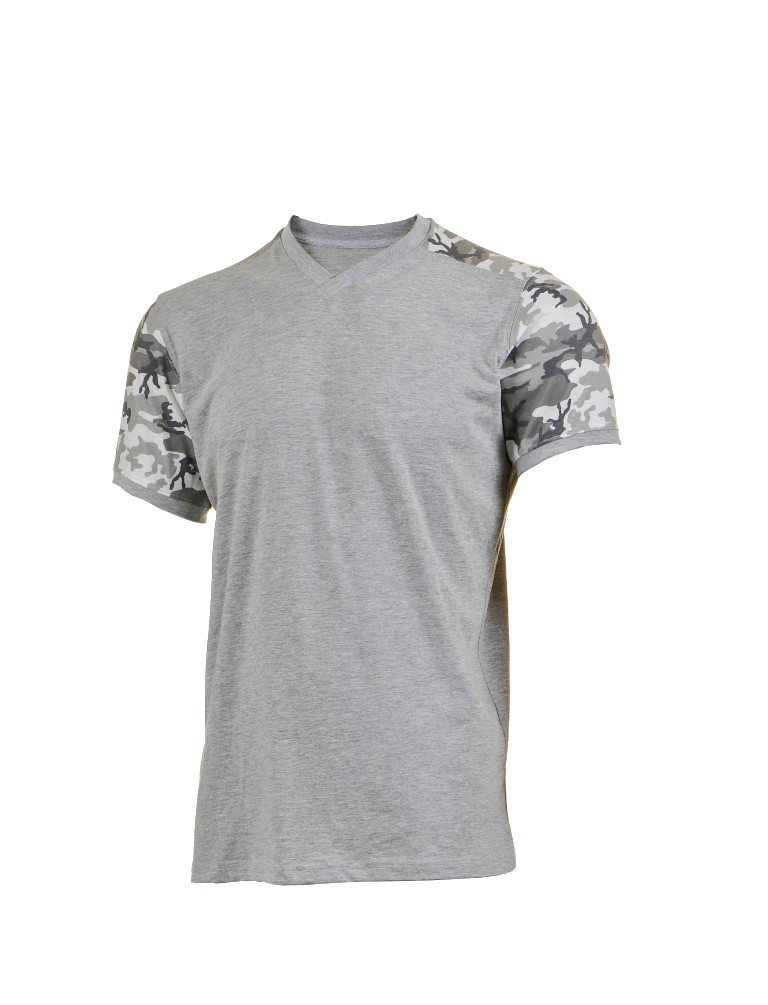 White Grey Camo Arms Grey T-Srhits V-Neck