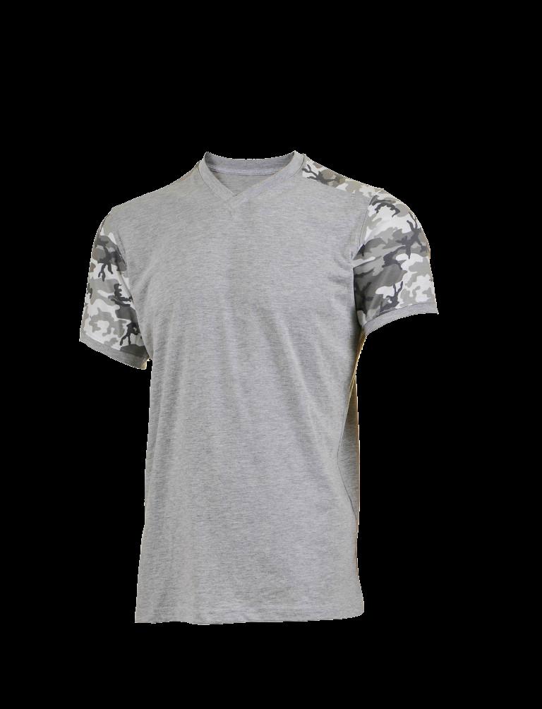 White Grey Camo Arms Grey T-Srhits V-Neck