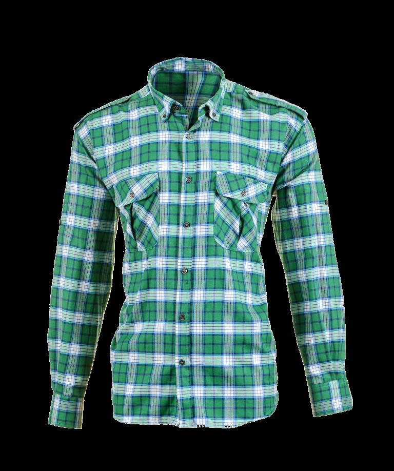 Plaid Shirts with Polar Fleece Laminated, Green