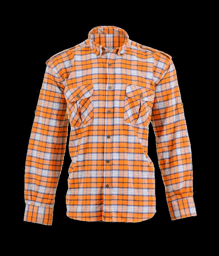 Plaid Shirts with Polar Fleece Laminated, Orange
